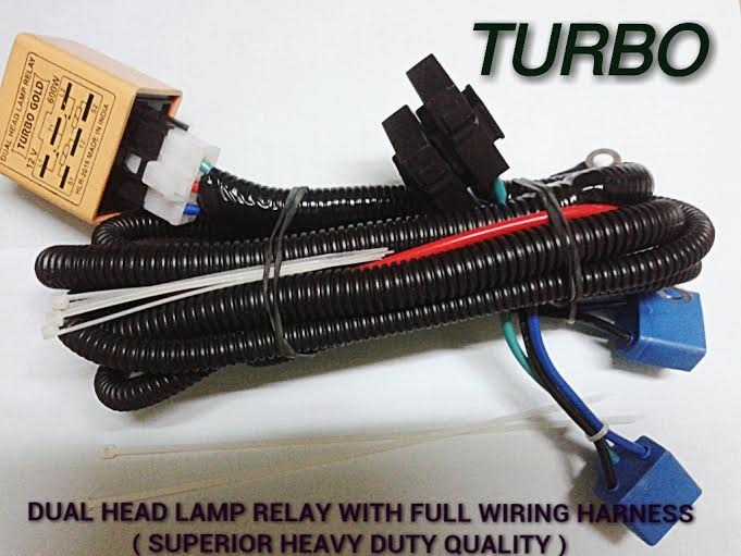 Dual Head Lamp Relay Wirings H4 Bulbs -For Cars & Trucks ... H Relay Wiring Harness on
