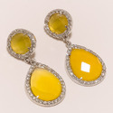 Yellow Onyx with CZ Earrings