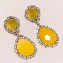 Yellow Onyx with CZ Earrings