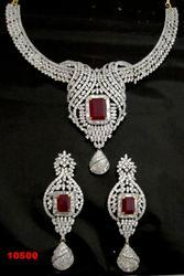 Bridal Set American Diamond Ruby Necklace Set