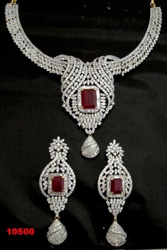 Bridal Set American Diamond Ruby Necklace Set Necklace