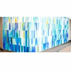 Multicolor Annealed and Toughened Air Brushed Hand Painted Glass, Size: 6 X 12 Feet