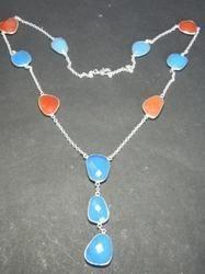Chalcedony Bezel Set Necklace