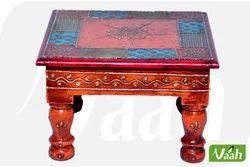 Vaah Decorative Painted Wooden Chowki