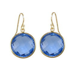 Blue Quartz Faceted Round Bezel Set Earrings