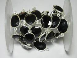 Black Onyx Gemstone Bezel Set Connector Station Chain