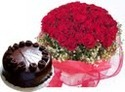 50 Flower Bunch Of Red Roses + Half Kg Chocolate Cake