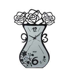 Flower Pot Shape Metal Wall Clock