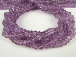 Pink Amethyst Faceted Rondelle Beads Strand