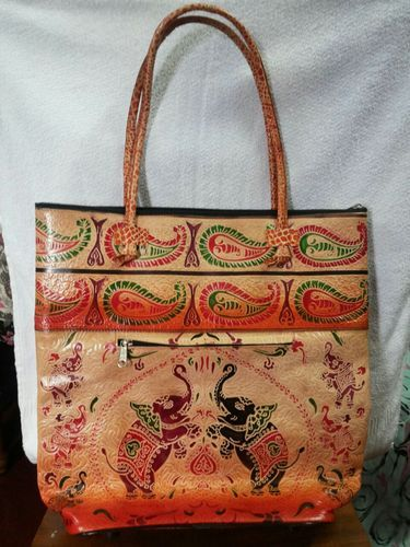 559177d53 Leather Bags - Hand Painted Leather Shopping Bag Manufacturer from ...