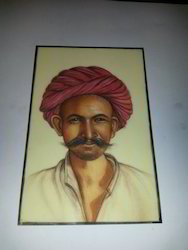 Rajasthani Men Face Miniature Painting