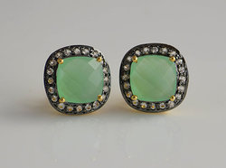 Green Chalcedony Pave Set Earring Stud