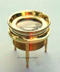 Small Solid Brass Three Leg Desk Magnifier