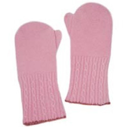 Microfiber Patch Work Pink Cashmere Mittens, Size: Common
