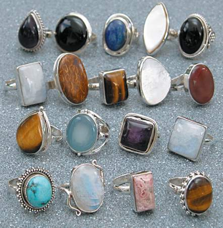 stone cabusion faceted designer silver jewelry product exotic lots rings