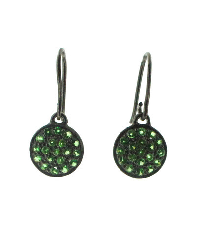 Pave Diamond Disc Earring with Gemstone