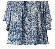 Blue Floral Print Gypsy Crop Top