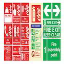 Red, Green Fire Signages