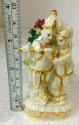 Celestial Couple Lord Radha Krishna Statue White Radium 3.75