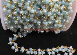 Mystic Aqua Chalcedony Dangling Chain