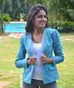 Blue Playing Card Suit Printed Jacket