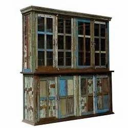 Vintage Reclaimed Boat Wood Display Cabinet