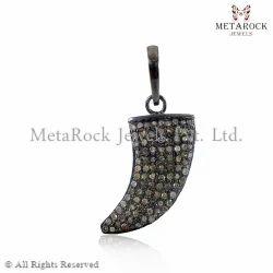 Pave Diamond Horn Charm Pendant