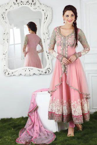 d94ef7c318 Pink Net Embroidery Party Wear Anarkali Suit, Anarkali, Anarkali ...