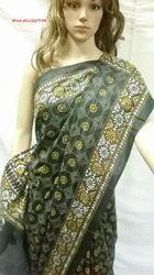 Kantha Stitch All Over Black Pure Silk Saree