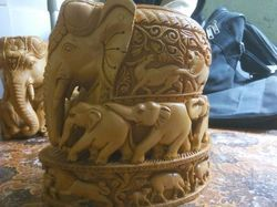 Wooden Carved Group Elephant