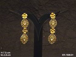 Oval Seed Flower Hold Polki Earrings