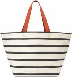 Striped Canvas Zipper Nylon Beach Bag Sic 1273 Rs 200 Piece Id 7587830830