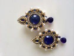Blue Antique Pearl Earrings