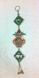 White Metal Ganesha Kalash Wall Hanging