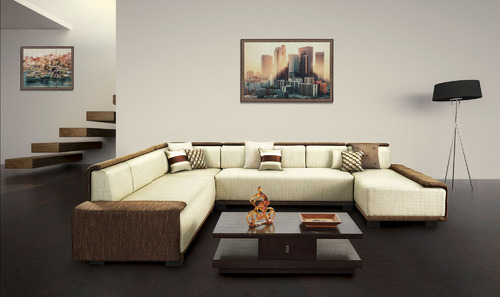 9 Seater Wood L Shape Sofa Set, Furniture Kraft ...