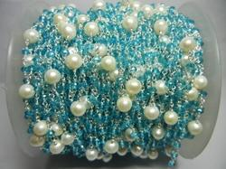 Blue Topaz with Pearl Bead Gemstone Rosary Chain