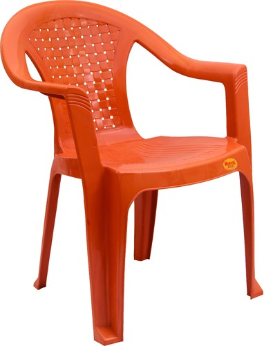 Orange Standard Net Design Medium Back Plastic Chair, Usage: Indoor, Outdoor