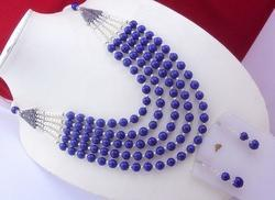 Lapis Pearl Beaded Necklace