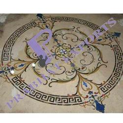 Prabhat White Imported Marble Flooring Inlay Design, Size: 60 * 60 (cm), Thickness: 5-10 mm