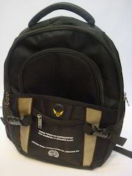 Polyester Black Backpack Bag, Number Of Compartments: 3