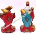 Birds Bottle Stand Of Wood Stone