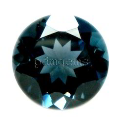 London Blue Topaz Faceted Round Cut Gemstone