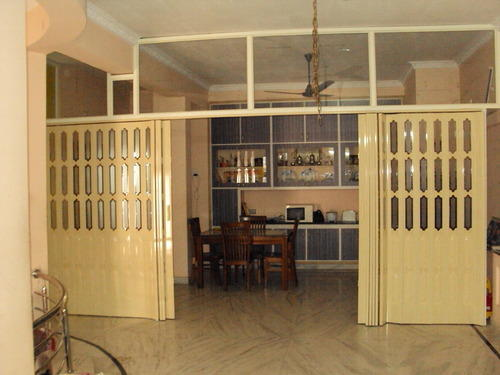 PVC Folding Door with glass inserts