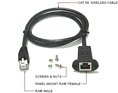 rj45 male-female panel mount cable
