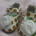 White And Mustard Polka Dot Shoes