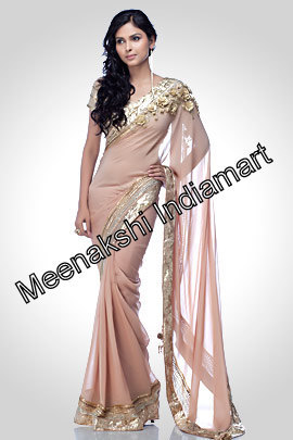 Beige Net Rose Saree