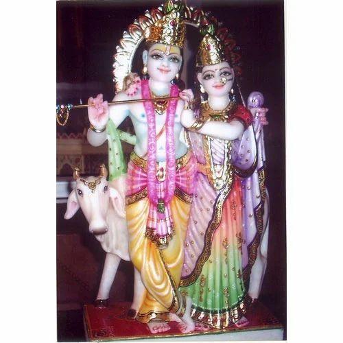 Marble Radha Krishna Statues Shri Krishna With Radha