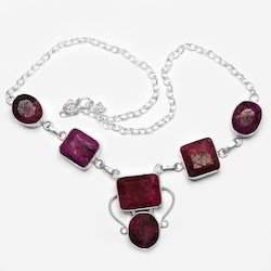 Natural Ruby Gem Stone 925 Sterling Silver Plated Necklace