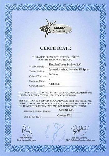herculan athletic running tracks iaaf certificate manufacturer
