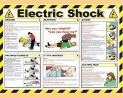 "Electric shock emergency resuscitation"" safety poster 600 x 420mm."